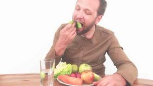 man eating healthy